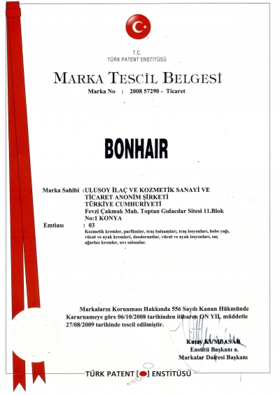 Bonhair Marka Tescil 2019