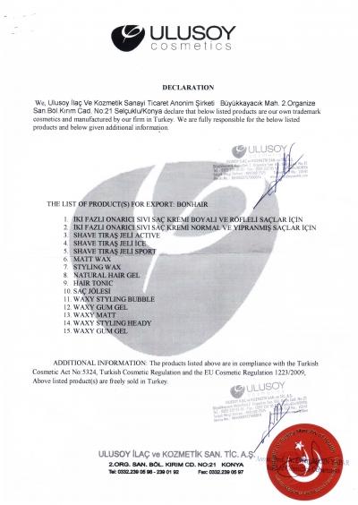 Free Sale Certificate (ürün liste)
