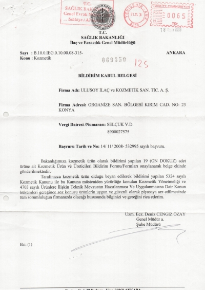 Ulusoy A.Ş. Sağlık Bakanlığı Bildirimleri 19 MADDE-page-001